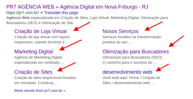 Google Rich Snippets Site Links